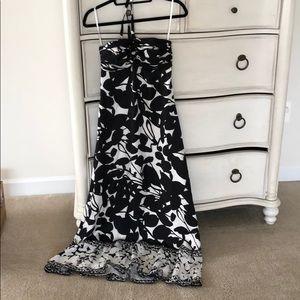 Long silk halter tie dress
